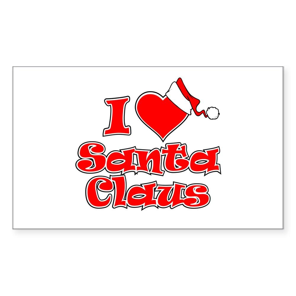 I Heart Santa Claus Rectangle Sticker