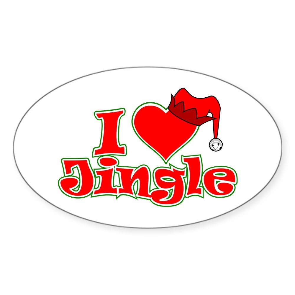 I Heart Jingle Oval Sticker
