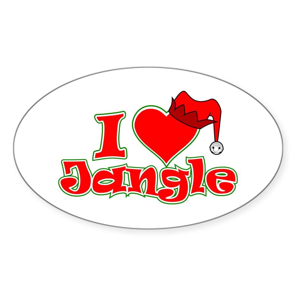 I Heart Jangle Oval Sticker