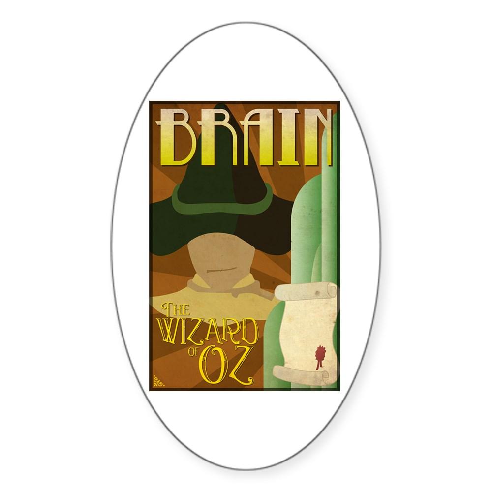 Wizard of Oz Scarecrow Deco Poster Design Oval Sticker