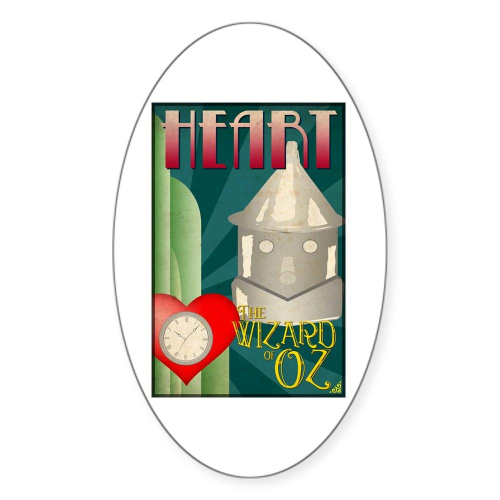 Wizard of Oz Tin Man Deco Poster Design Oval Sticker