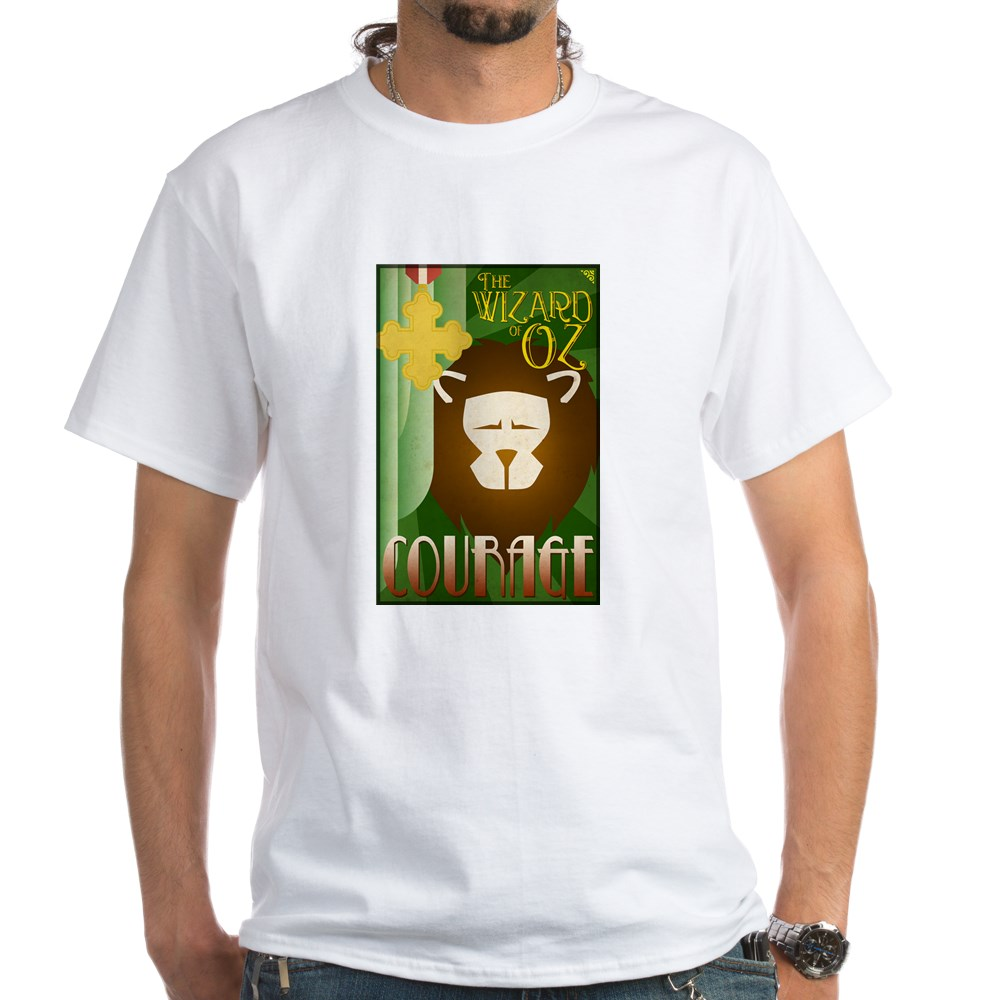 Wizard of Oz Cowardly Lion Deco Poster Design White T-Shirt