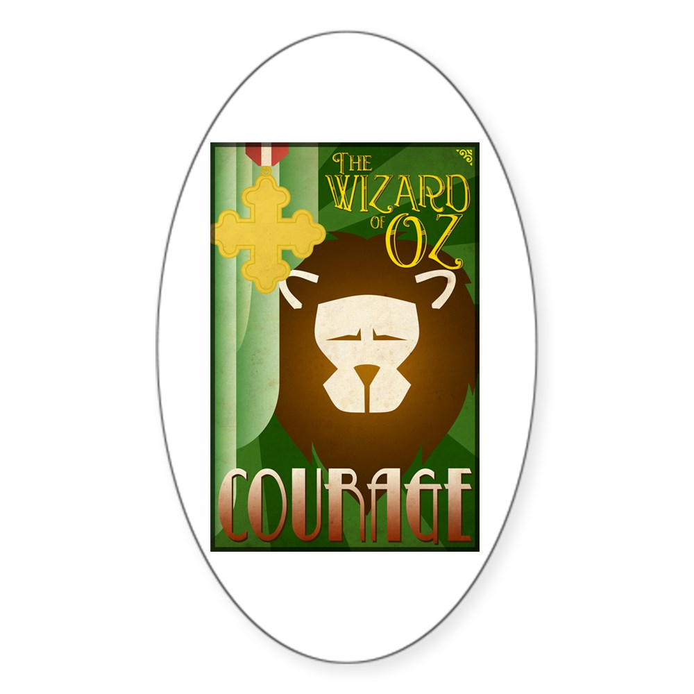 Wizard of Oz Cowardly Lion Deco Poster Design Oval Sticker