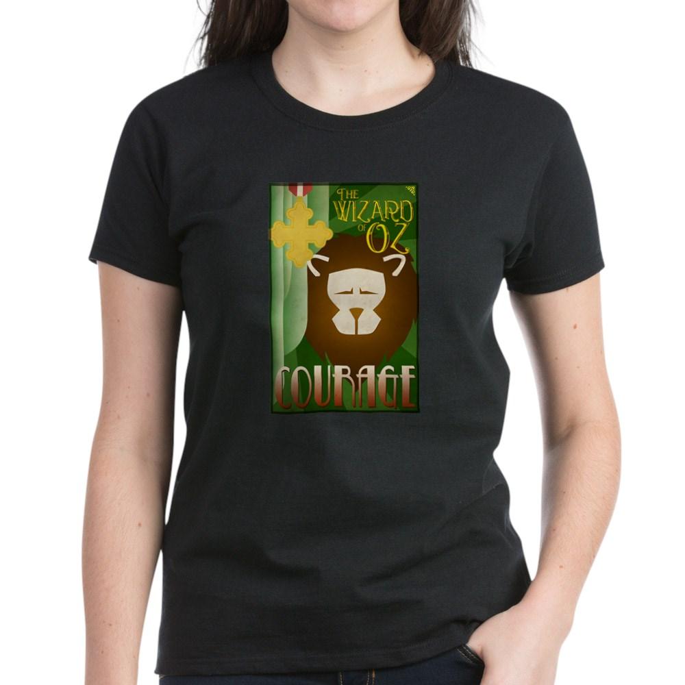 Wizard of Oz Cowardly Lion Deco Poster Design Women's Dark T-Shirt
