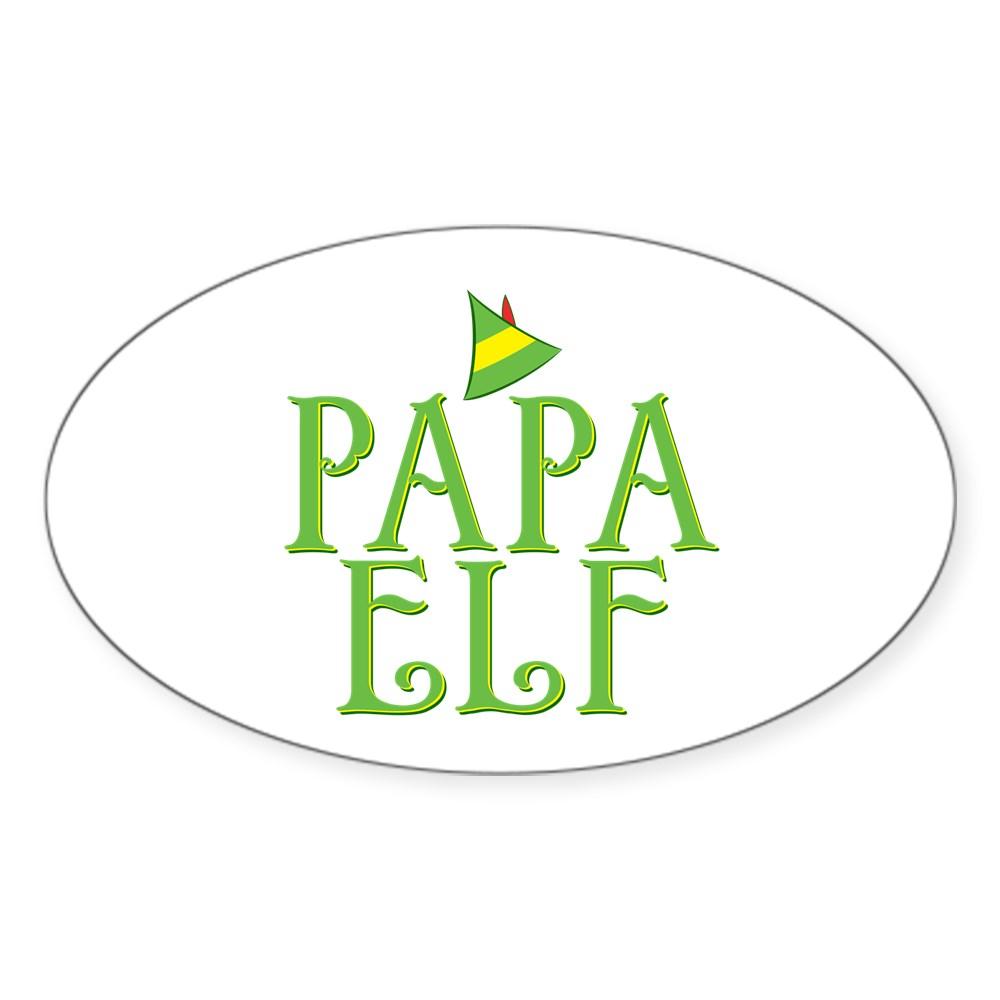 Papa Elf Oval Sticker