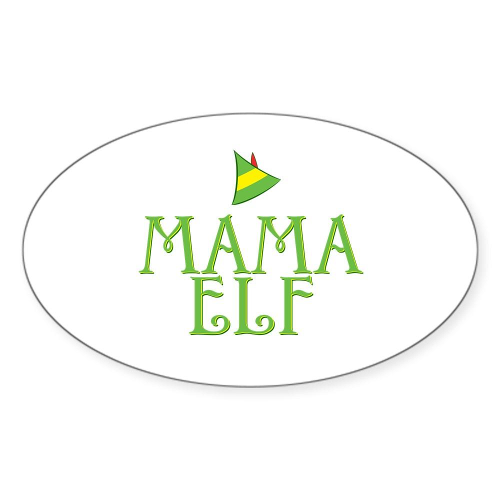 Mama Elf Oval Sticker