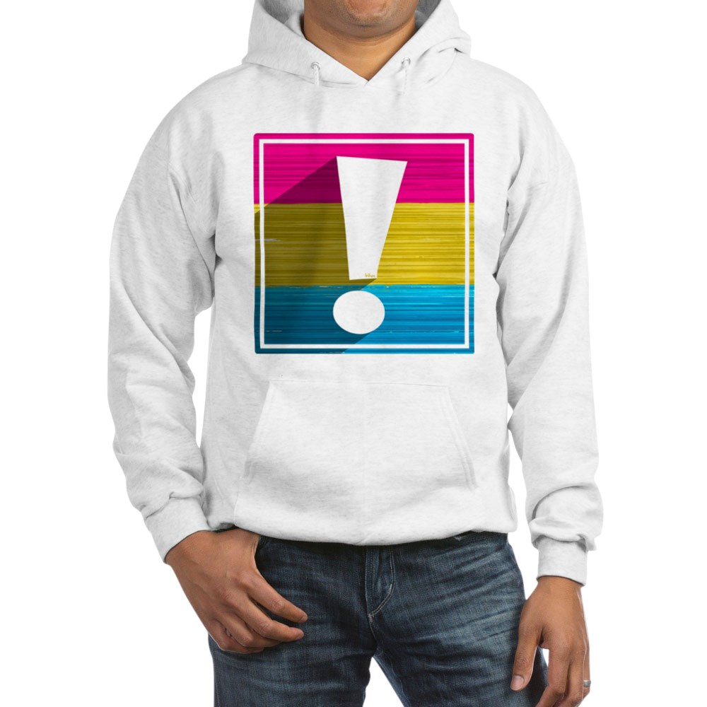Pansexual Pride Flag Exclamation Point Shadow Hooded Sweatshirt