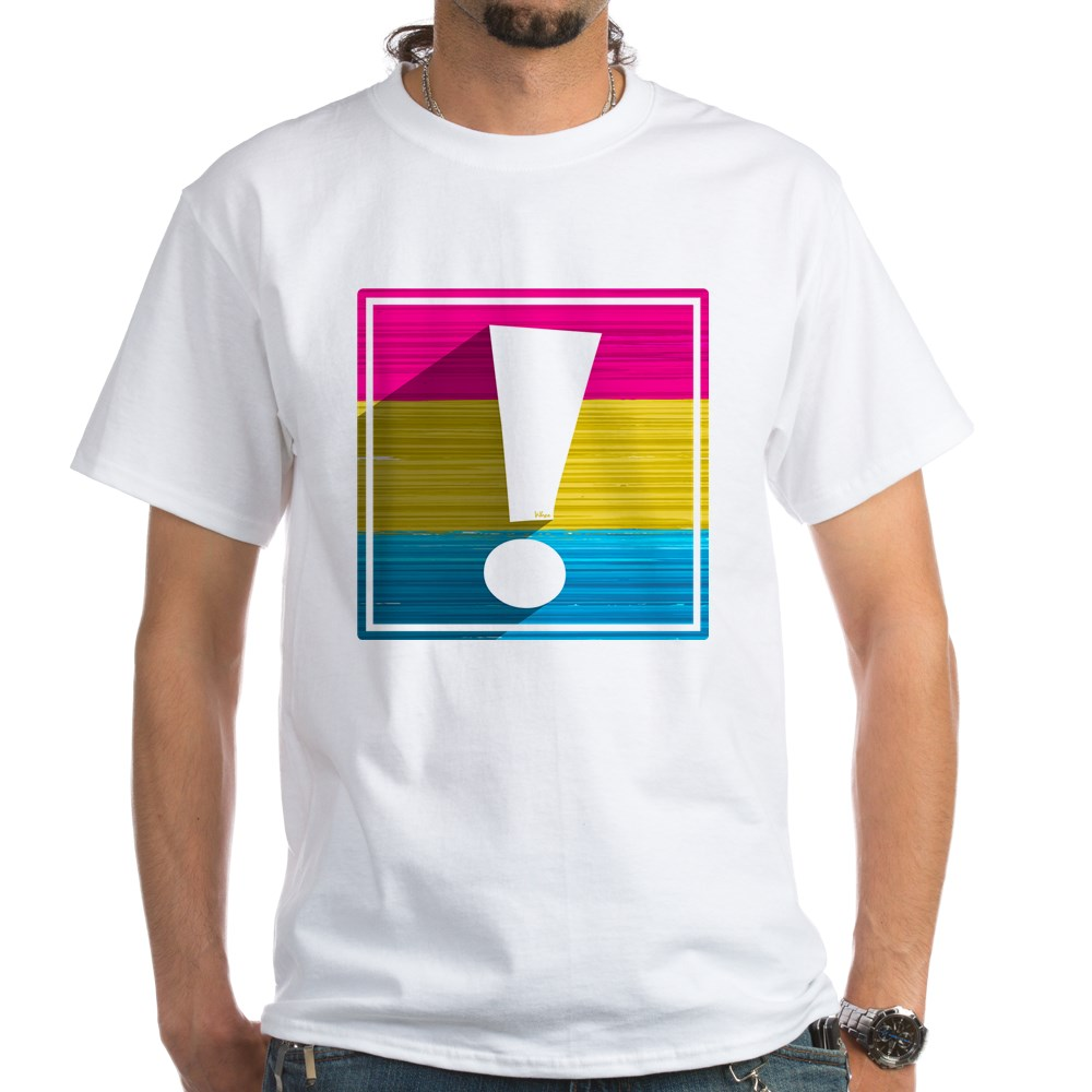 Pansexual Pride Flag Exclamation Point Shadow White T-Shirt
