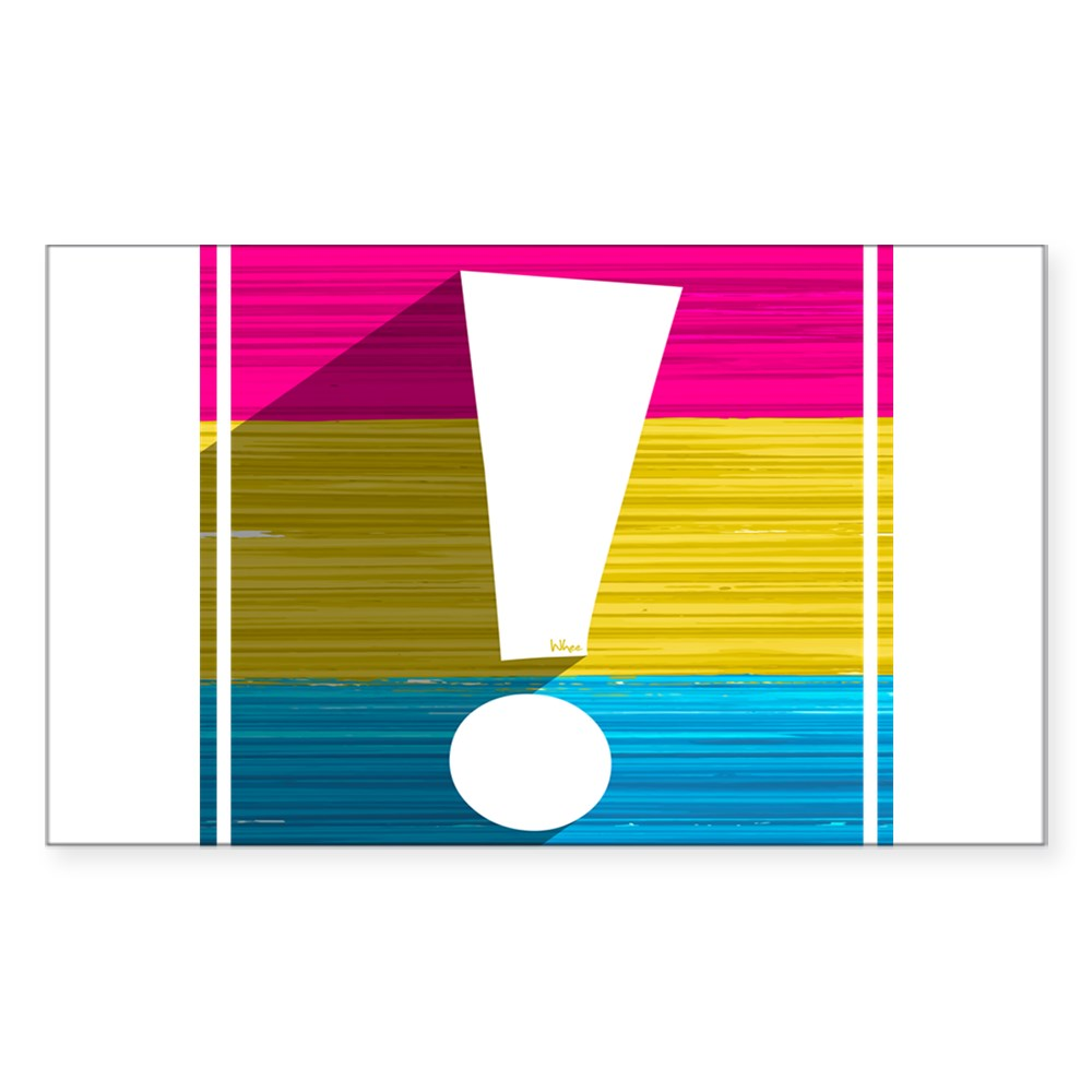 Pansexual Pride Flag Exclamation Point Shadow Rectangle Sticker