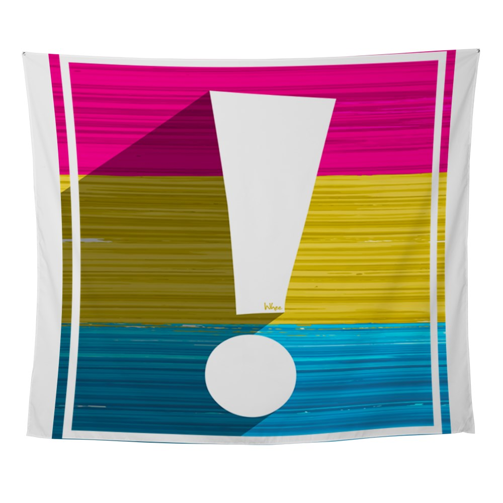 Pansexual Pride Flag Exclamation Point Shadow Wall Tapestry