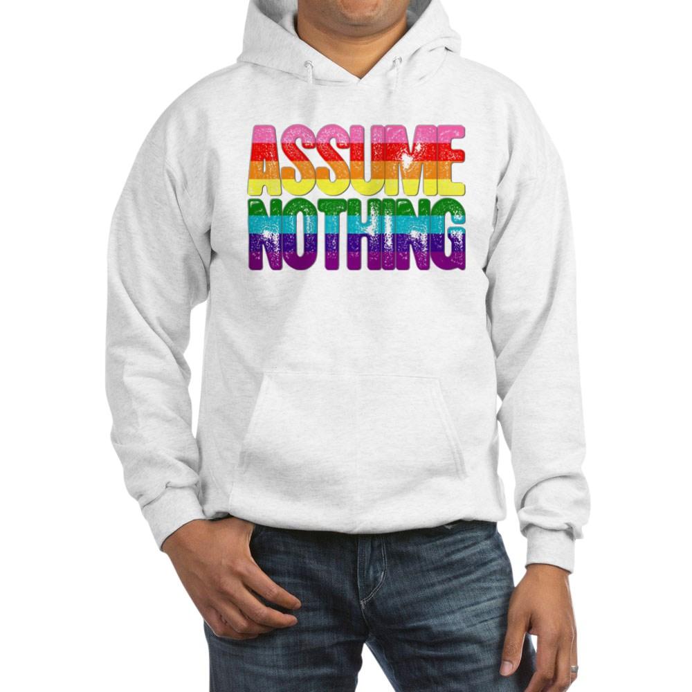 Assume Nothing Original Gilbert Baker LGBTQ Gay Pride Flag Hooded Sweatshirt
