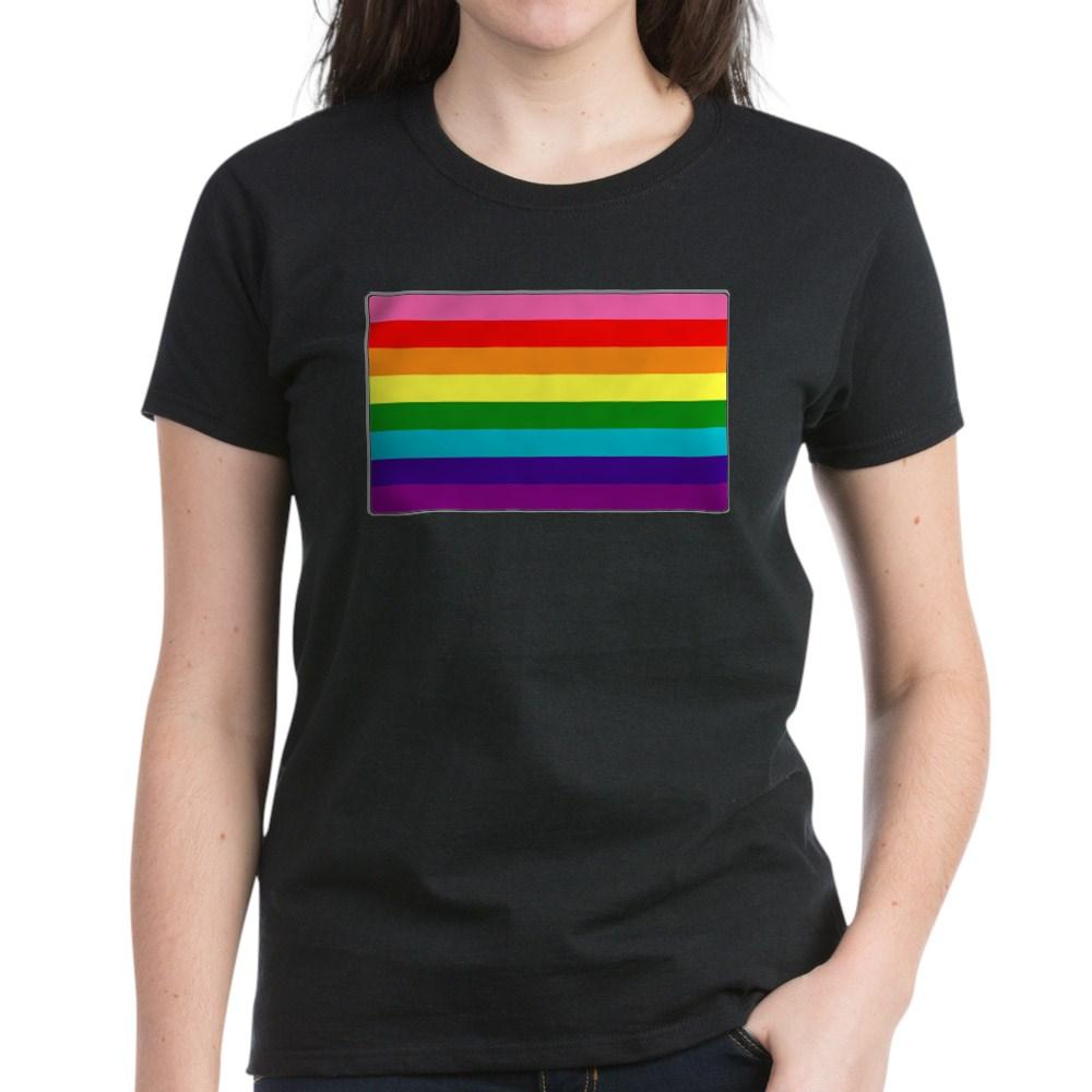 Original Gilbert Baker LGBTQ Rainbow Pride Flag Women's Dark T-Shirt