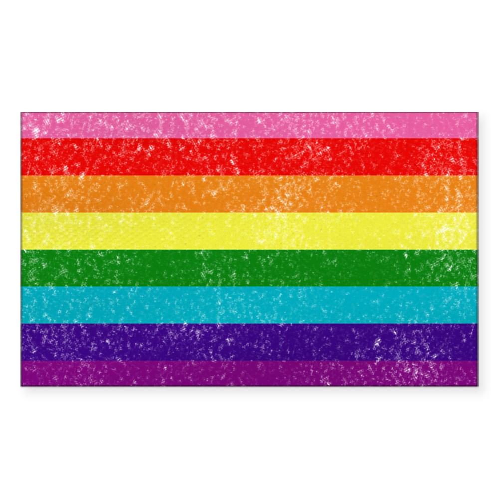 Distressed Original LGBT Gay Pride Flag Rectangle Sticker