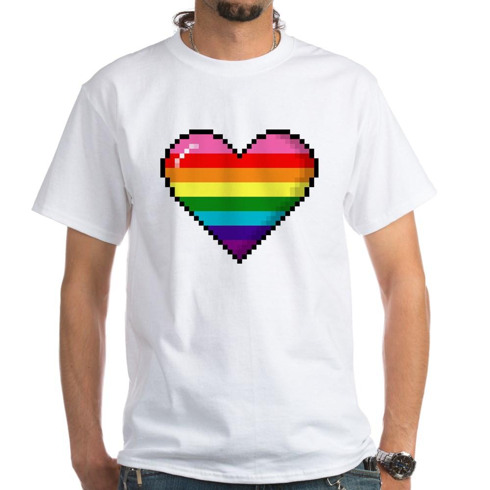 Gilbert Baker Original LGBTQ Gay Rainbow Pride 8-Bit Pixel Heart White T-Shirt