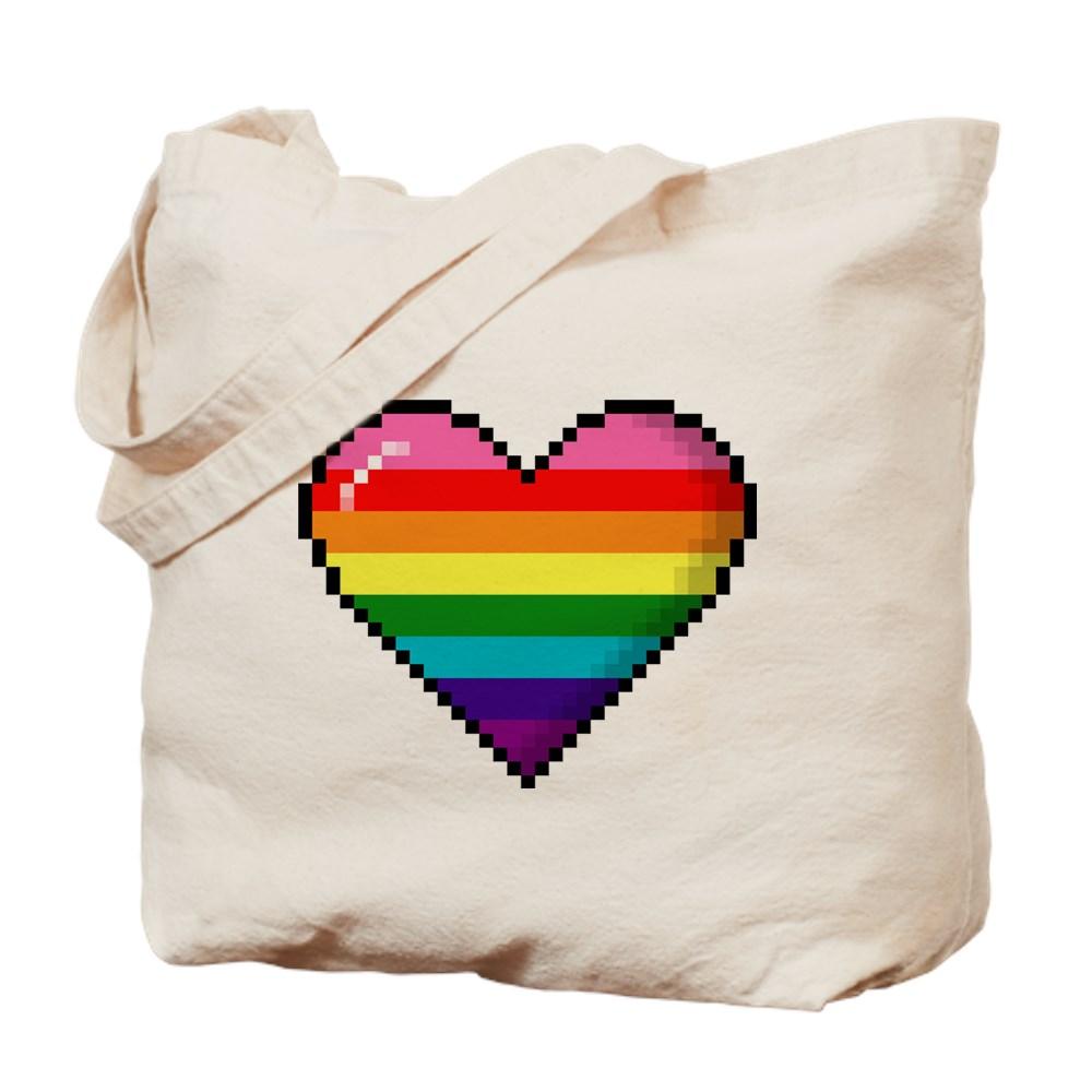 Gilbert Baker Original LGBTQ Gay Rainbow Pride 8-Bit Pixel Heart Tote Bag