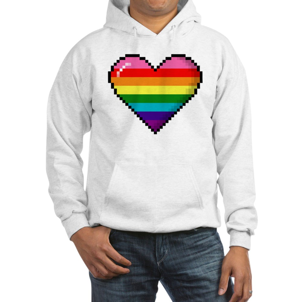 Gilbert Baker Original LGBTQ Gay Rainbow Pride 8-Bit Pixel Heart Hooded Sweatshirt