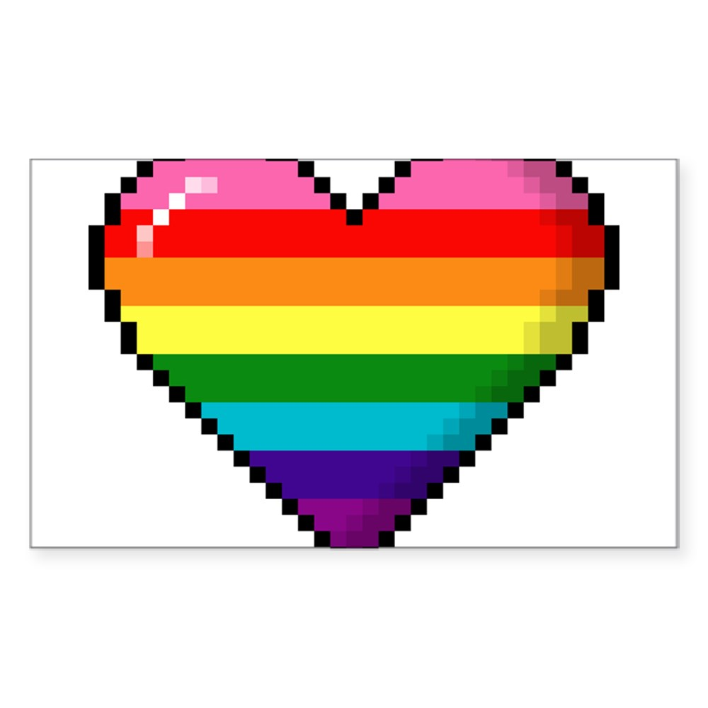 Gilbert Baker Original LGBTQ Gay Rainbow Pride 8-Bit Pixel Heart Rectangle Sticker