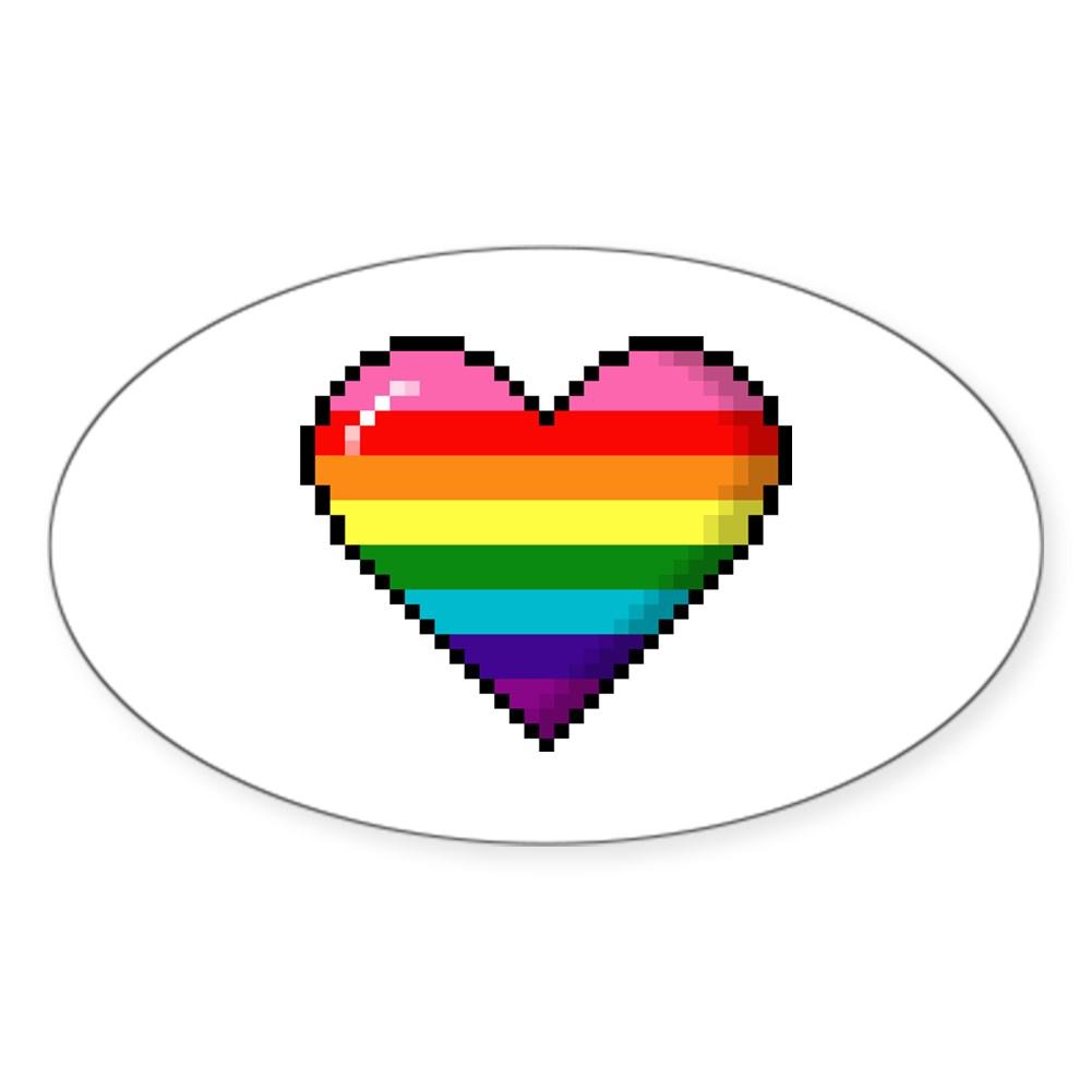 Gilbert Baker Original LGBTQ Gay Rainbow Pride 8-Bit Pixel Heart Oval Sticker