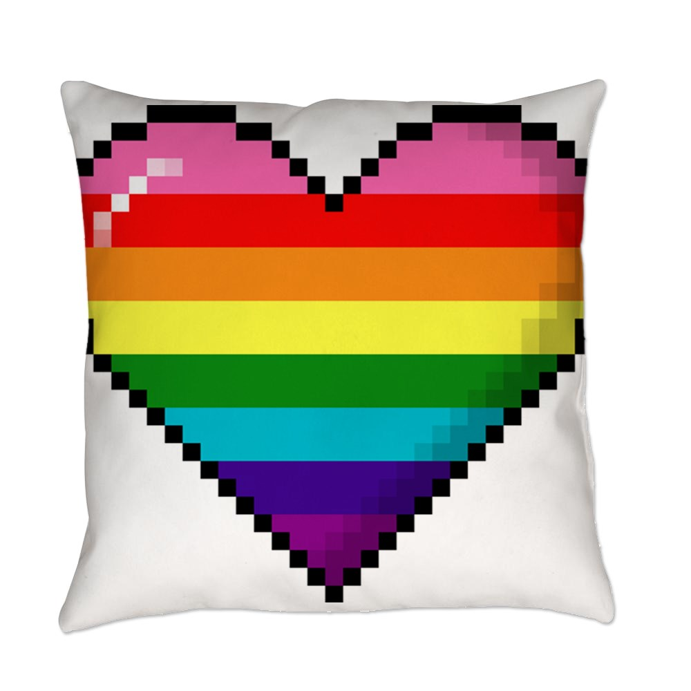 Gilbert Baker Original LGBTQ Gay Rainbow Pride 8-Bit Pixel Heart Everyday Pillow