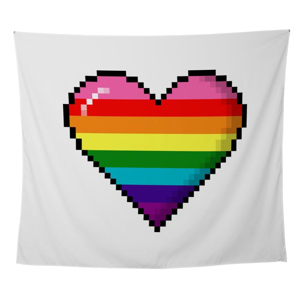 Gilbert Baker Original LGBTQ Gay Rainbow Pride 8-Bit Pixel Heart Wall Tapestry