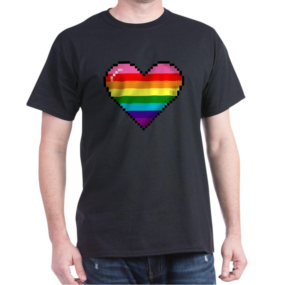 Gilbert Baker Original LGBTQ Gay Rainbow Pride 8-Bit Pixel Heart Dark T-Shirt