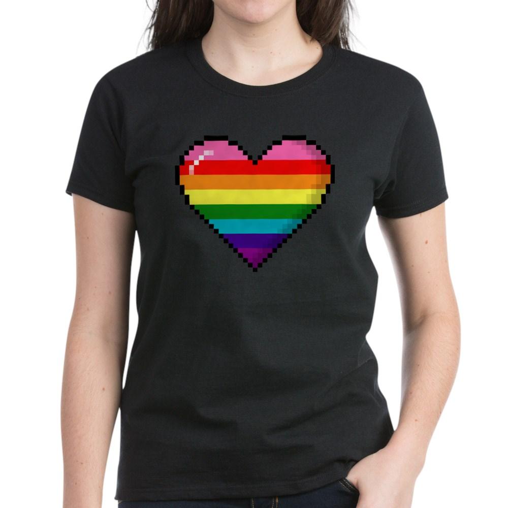 Gilbert Baker Original LGBTQ Gay Rainbow Pride 8-Bit Pixel Heart Women's Dark T-Shirt
