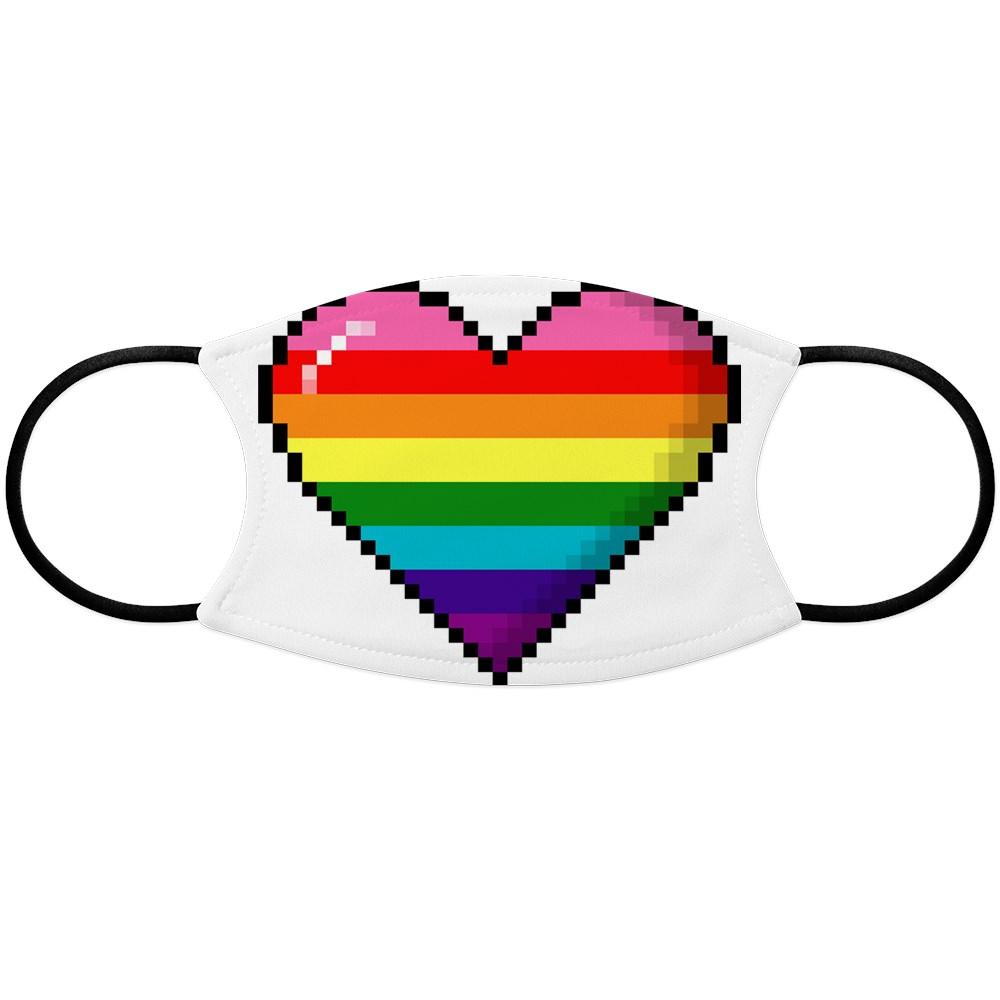 Gilbert Baker Original LGBTQ Gay Rainbow Pride 8-Bit Pixel Heart Face Mask