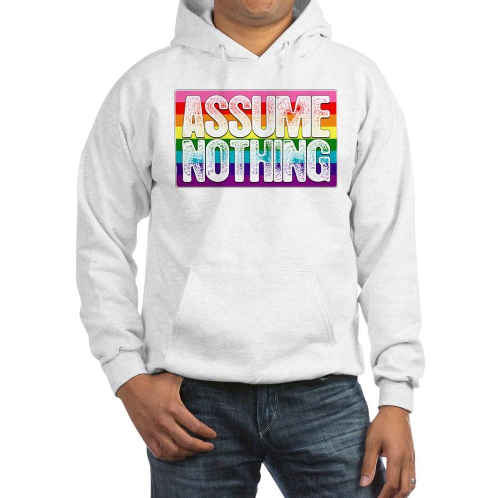 Assume Nothing Gilbert Baker Original LGBTQ Gay Pride Flag Hooded Sweatshirt