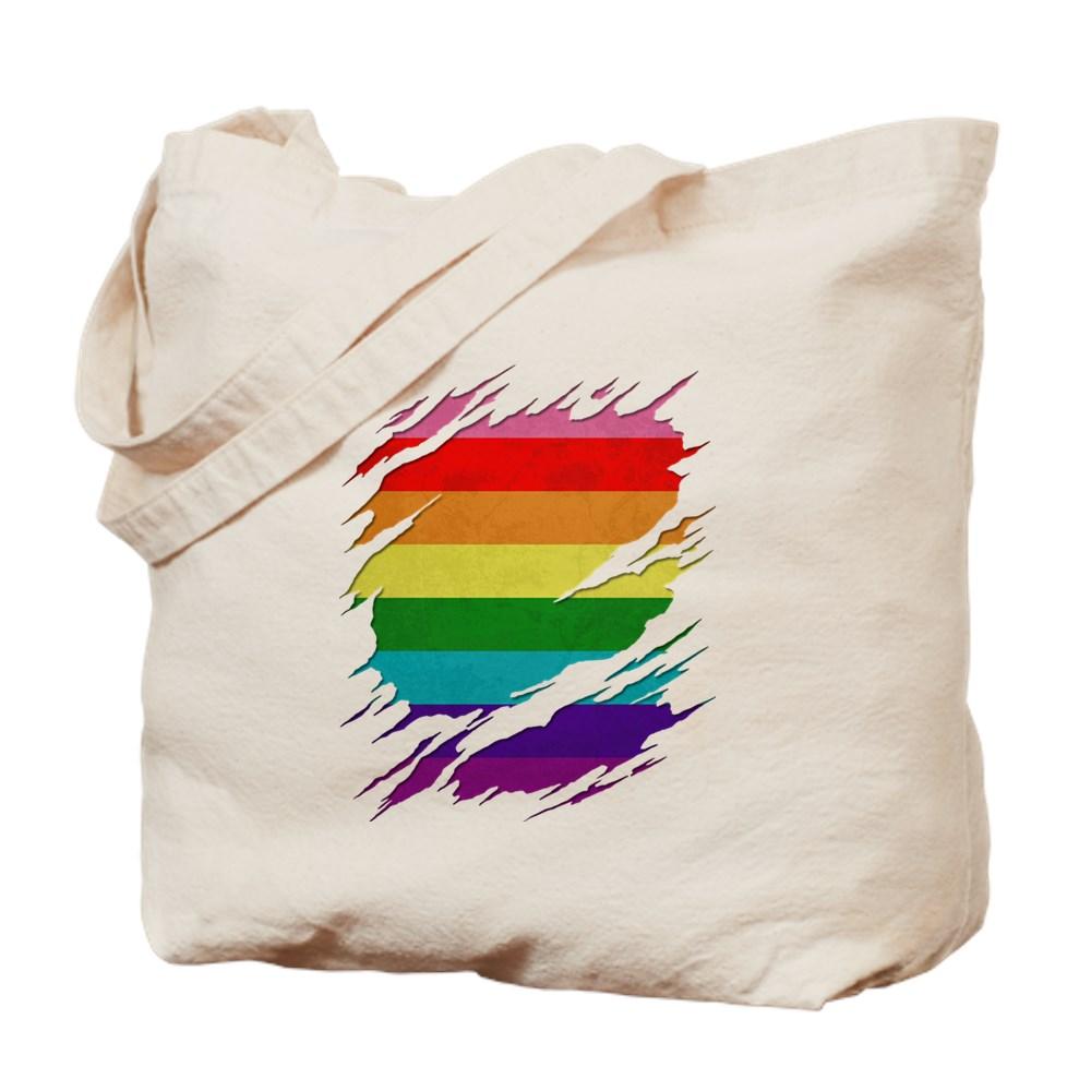 Original Gilbert Baker LGBT Gay Pride Flag Ripped Reveal Tote Bag