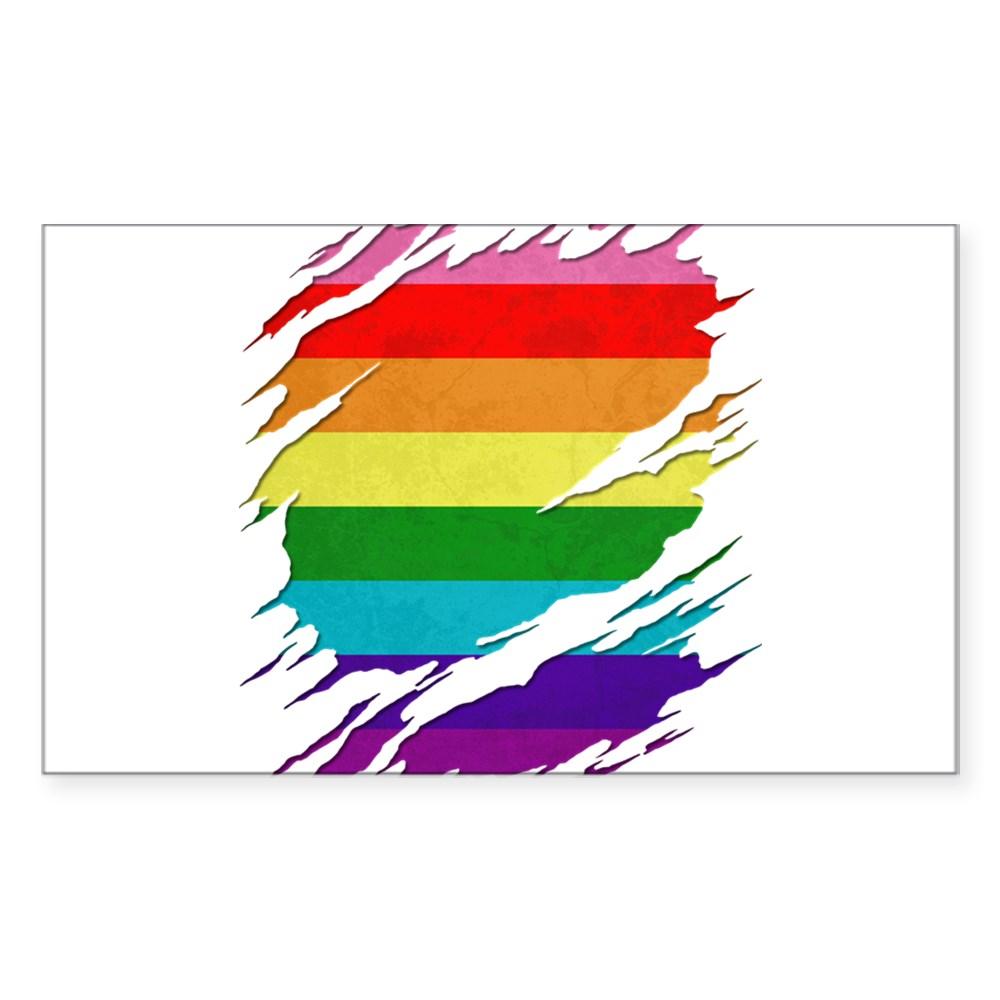 Original Gilbert Baker LGBT Gay Pride Flag Ripped Reveal Rectangle Sticker