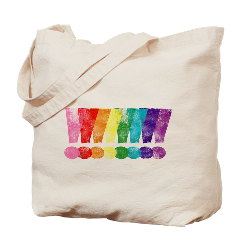 Distressed Gilbert Baker LGBT Pride Exclamation Points Tote Bag