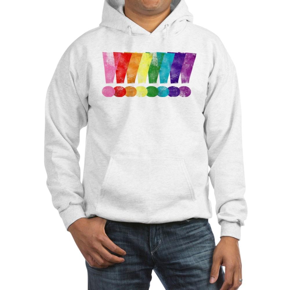 Distressed Gilbert Baker LGBT Pride Exclamation Points Hooded Sweatshirt