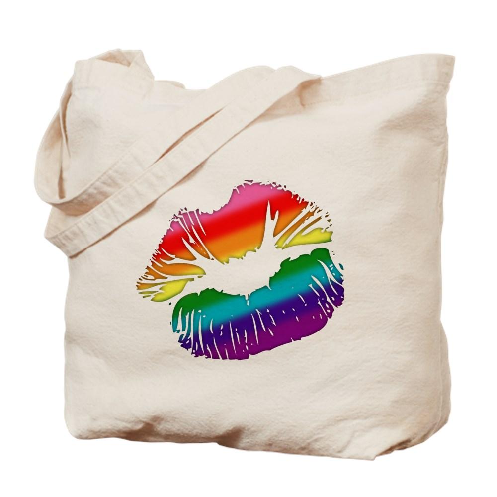 Original Gilbert Baker LGBTQ Love Rainbow Pride Kissing Lips Tote Bag
