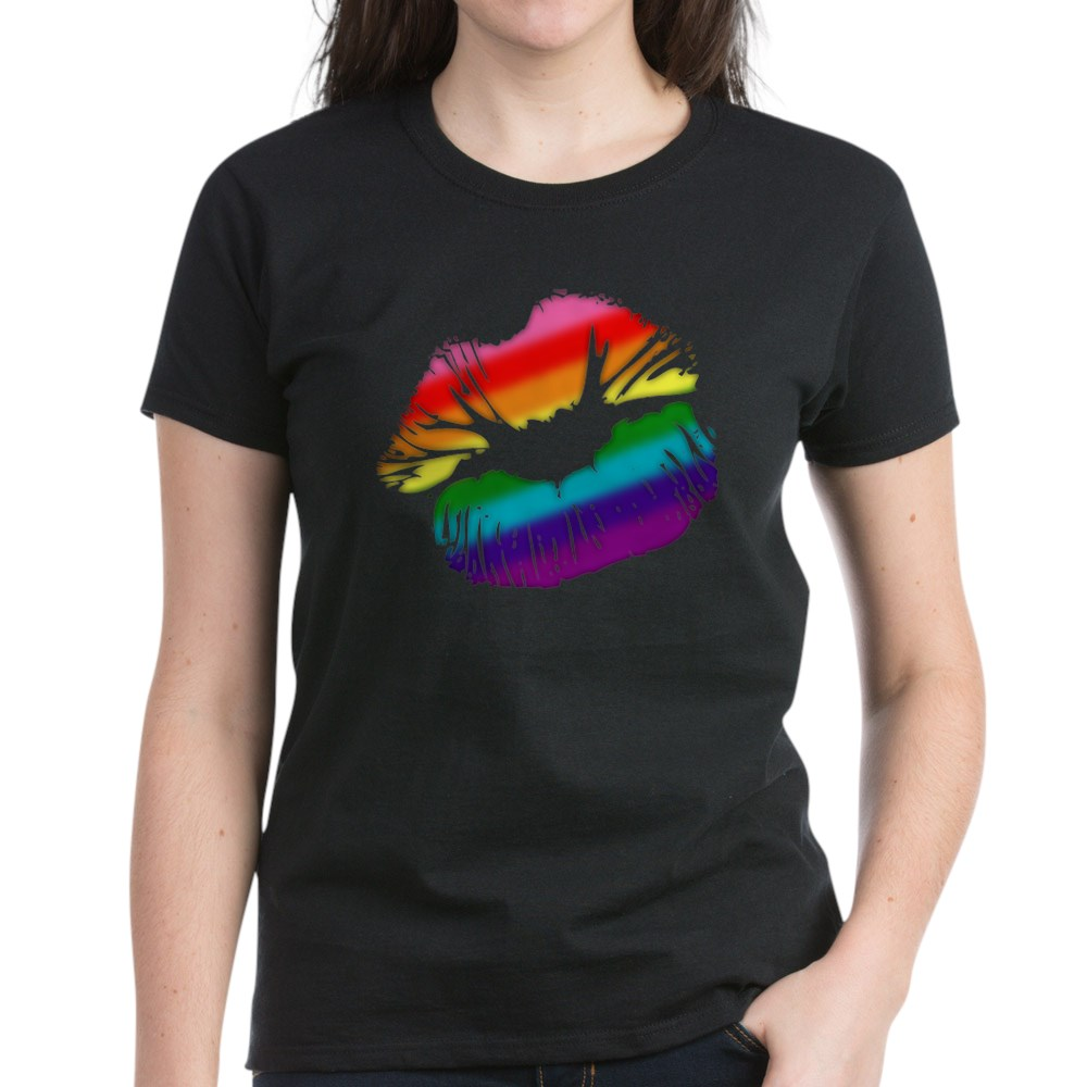 Original Gilbert Baker LGBTQ Love Rainbow Pride Kissing Lips Women's Dark T-Shirt