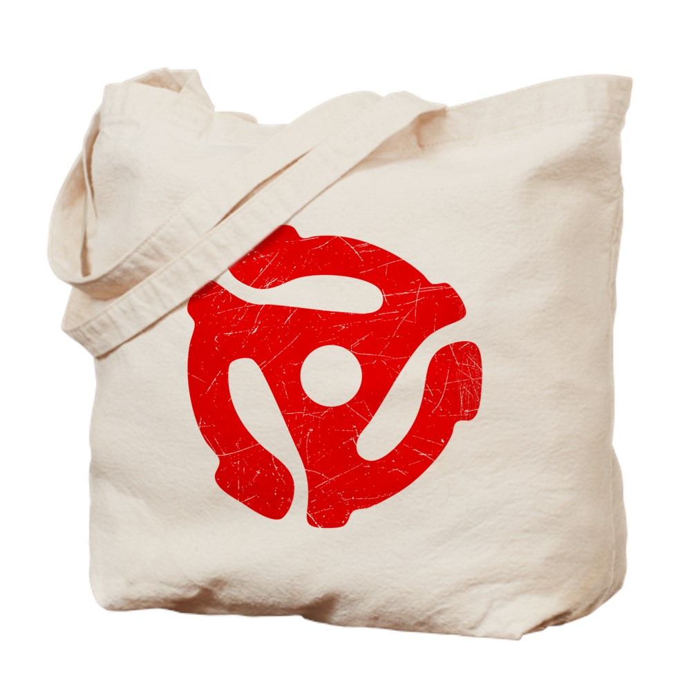Red Distressed 45 RPM Adapter Tote Bag