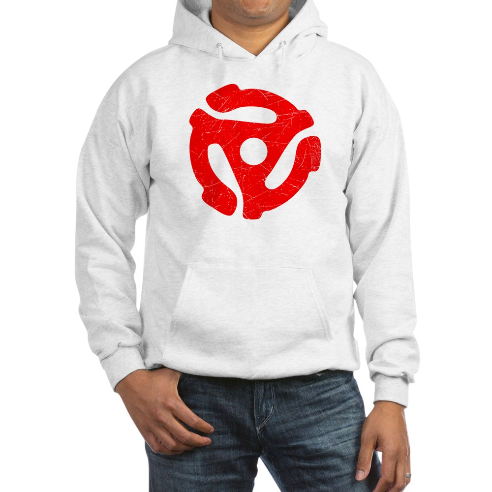 Red Distressed 45 RPM Adapter Hooded Sweatshirt