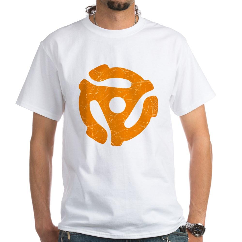 Orange Distressed 45 RPM Adapter White T-Shirt
