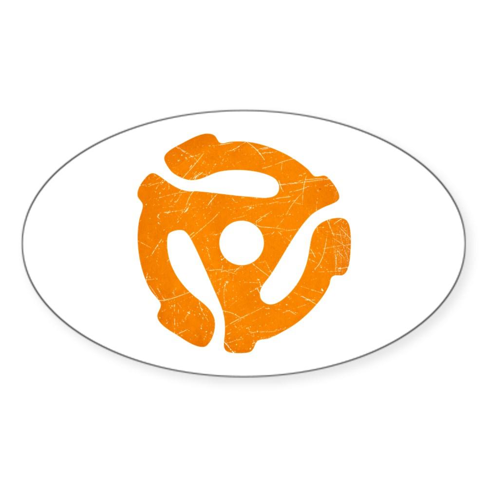 Orange Distressed 45 RPM Adapter Oval Sticker