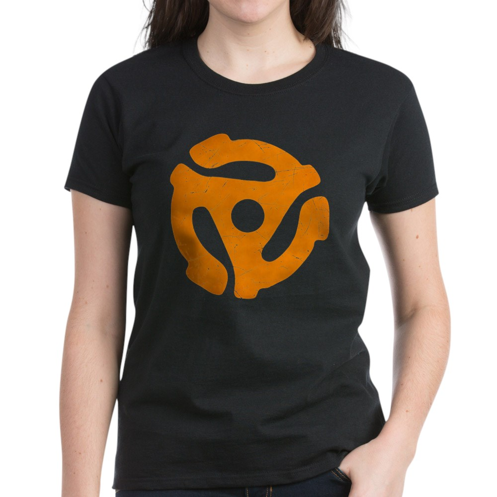 Orange Distressed 45 RPM Adapter Women's Dark T-Shirt