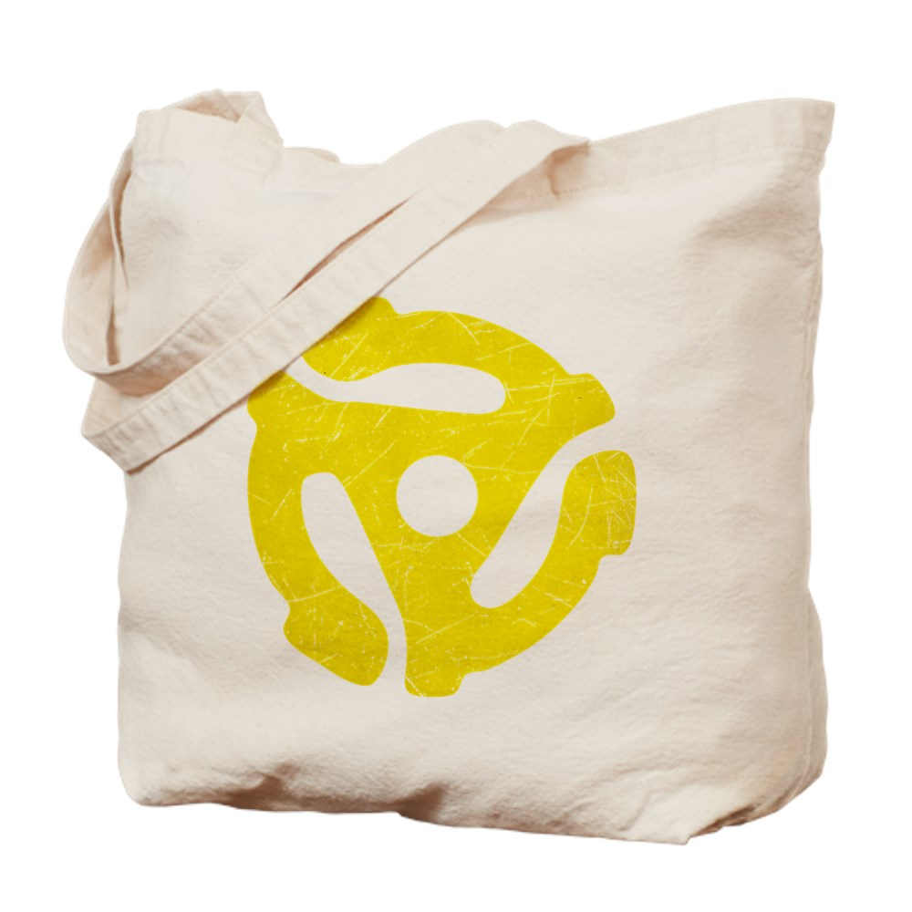 Yellow Distressed 45 RPM Adapter Tote Bag