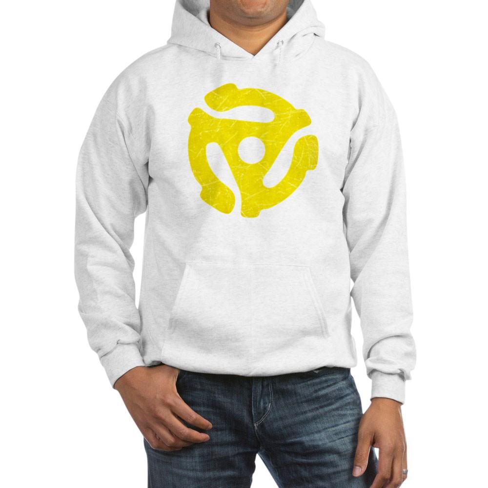 Yellow Distressed 45 RPM Adapter Hooded Sweatshirt