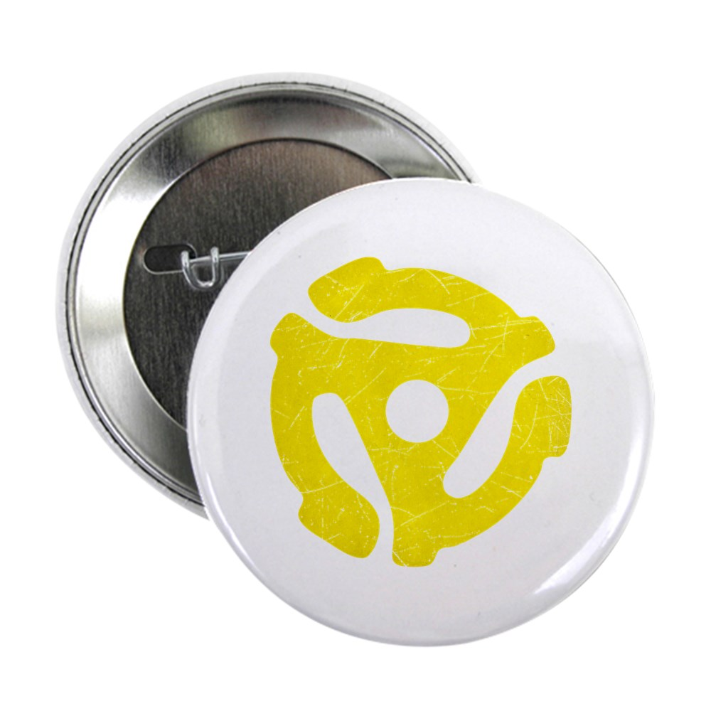 Yellow Distressed 45 RPM Adapter 2.25