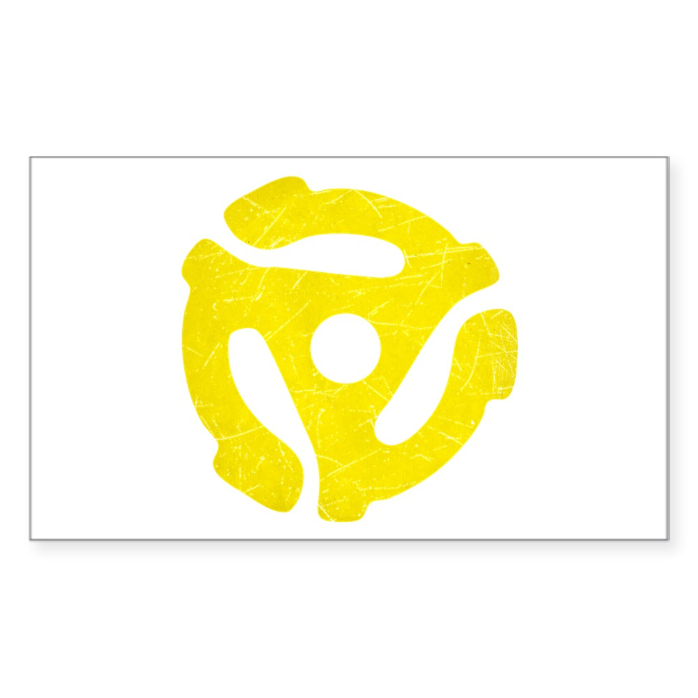 Yellow Distressed 45 RPM Adapter Rectangle Sticker