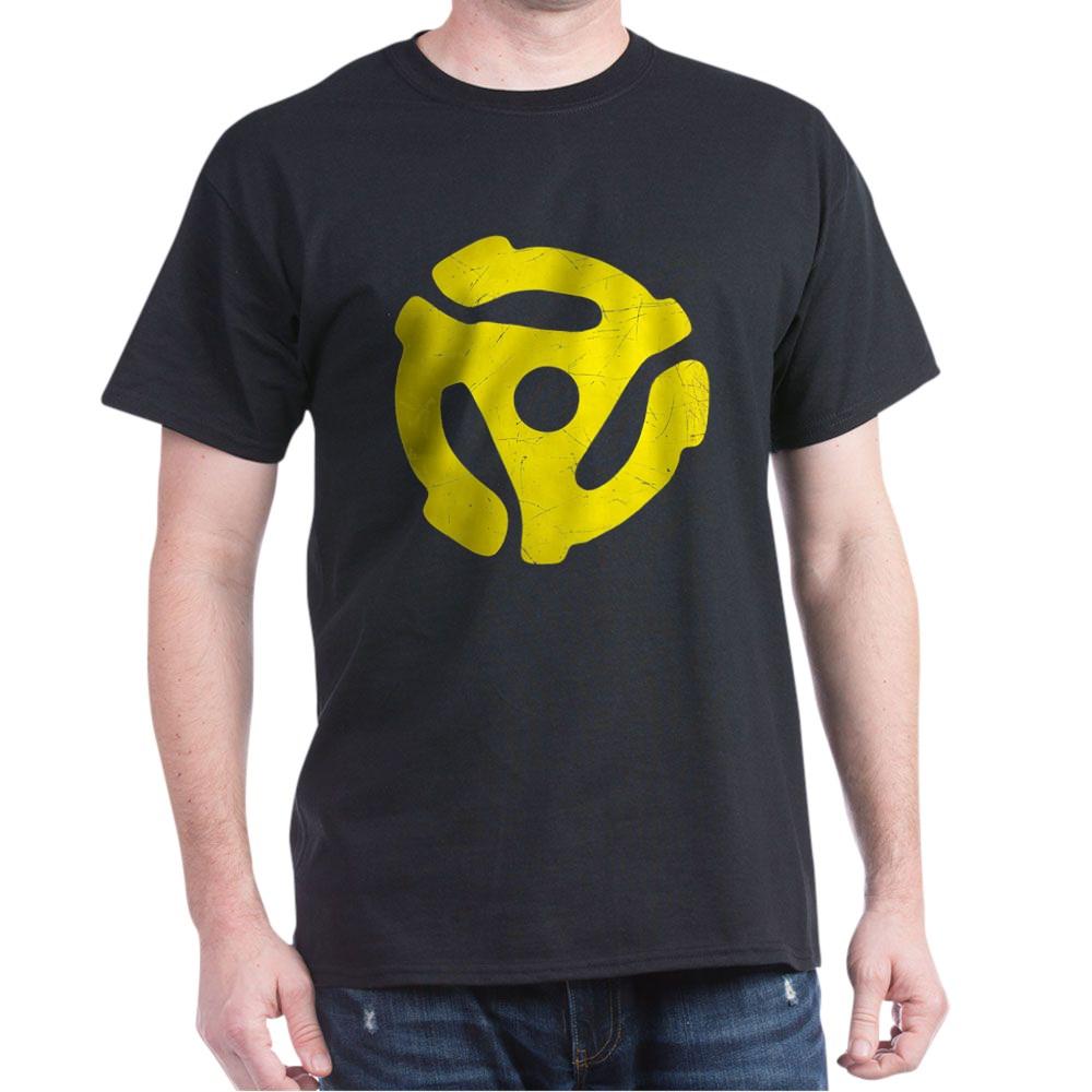 Yellow Distressed 45 RPM Adapter Dark T-Shirt