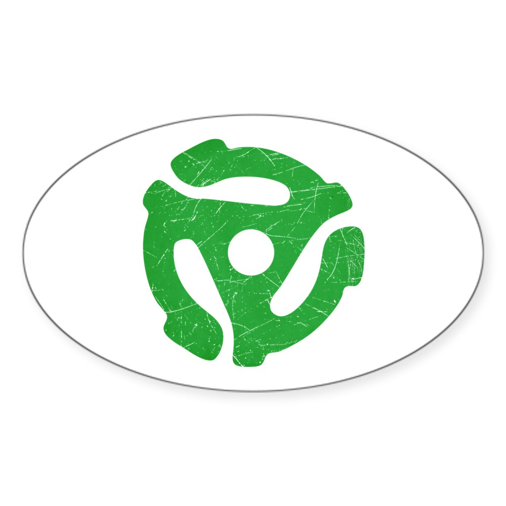 Green Distressed 45 RPM Adapter Oval Sticker