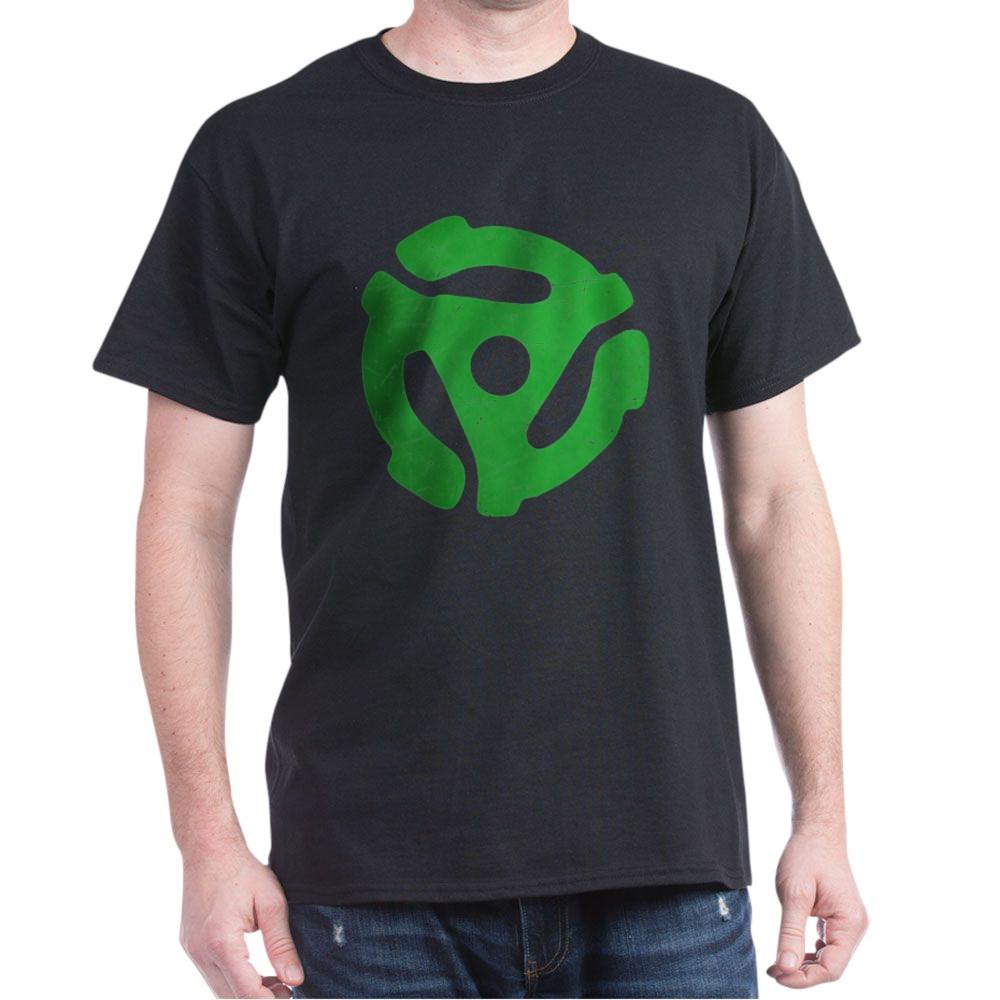 Green Distressed 45 RPM Adapter Dark T-Shirt