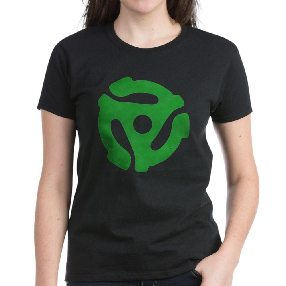 Green Distressed 45 RPM Adapter Women's Dark T-Shirt