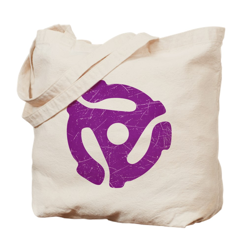 Purple Distressed 45 RPM Adapter Tote Bag