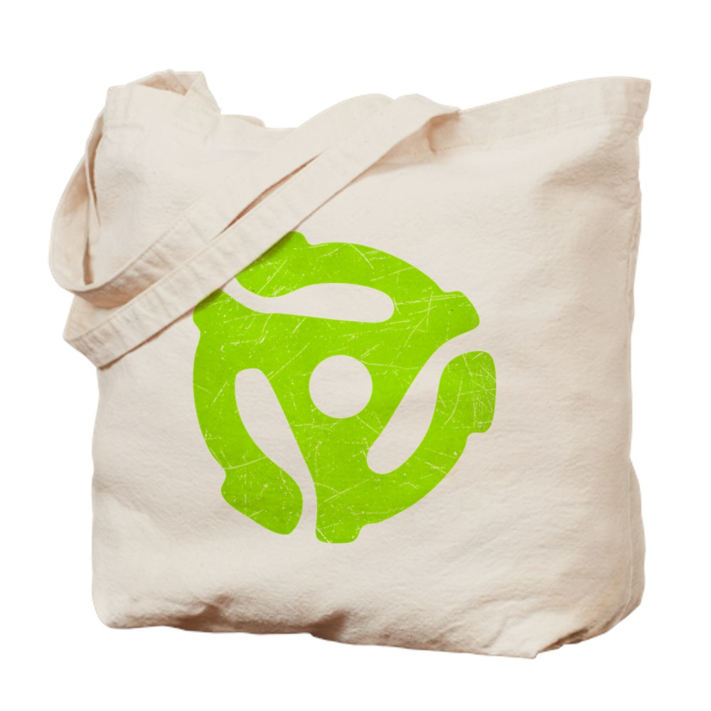 Lime Green Distressed 45 RPM Adapter Tote Bag