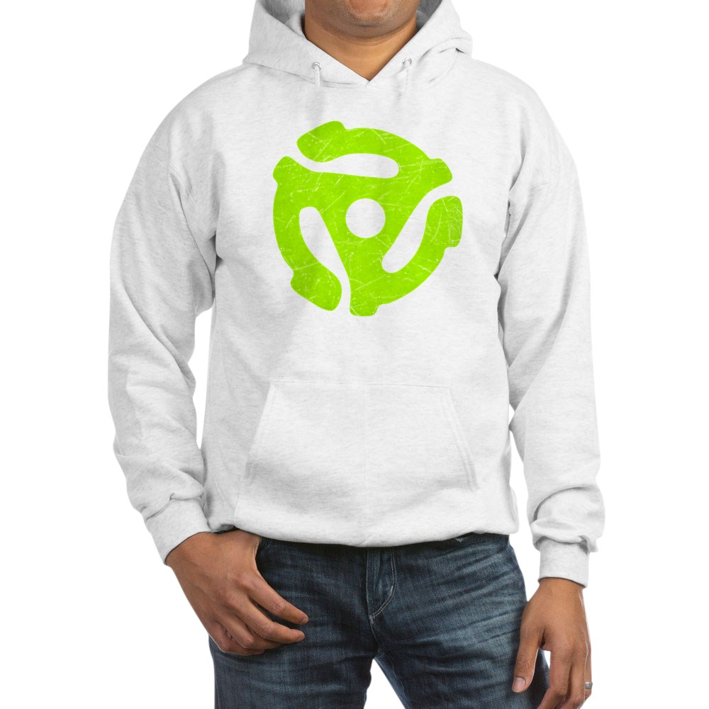 Lime Green Distressed 45 RPM Adapter Hooded Sweatshirt
